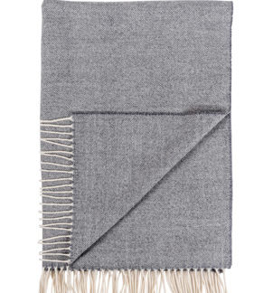 Dove Grey Wool Herringbone Pashmina