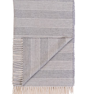 Grey and Cream Stripe Wool Pashmina