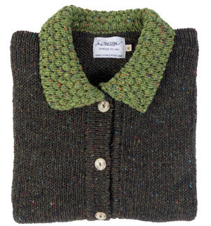 Womens Green Berry Wool Cardigan