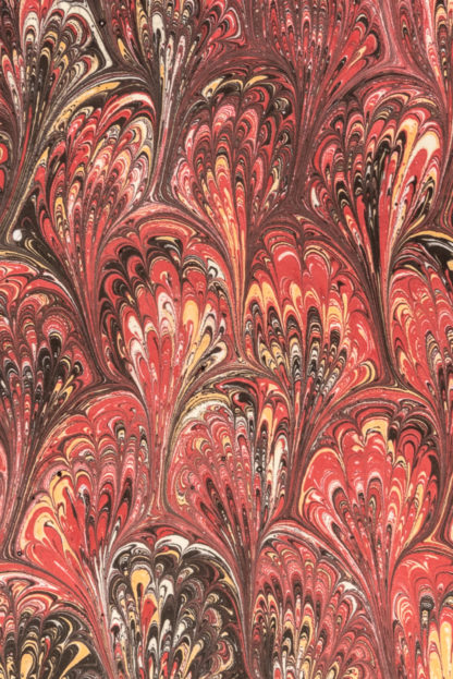 Hand Marbled Red Notebook Detail