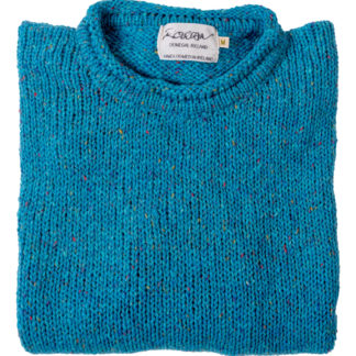 Womens Turquoise-Wool Round-Neck-Jumper-Folded