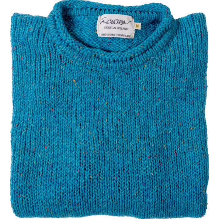 Womens Turquoise Wool Round Neck Jumper