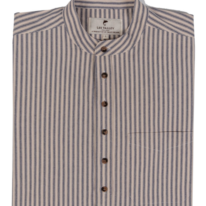 Mens Collarless Cotton Striepd Shirt - Blue and Cream Folded