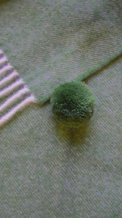 Spanish Wool Poncho Woodland Green Detail