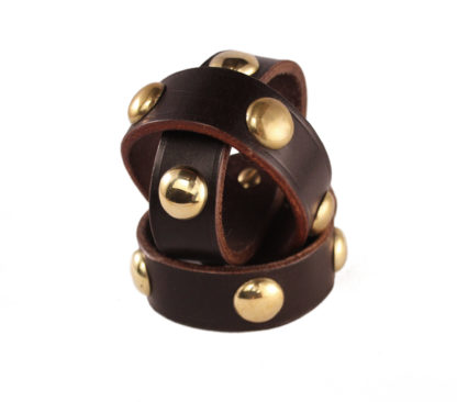 Leather Studded Cuff with Brass Studs