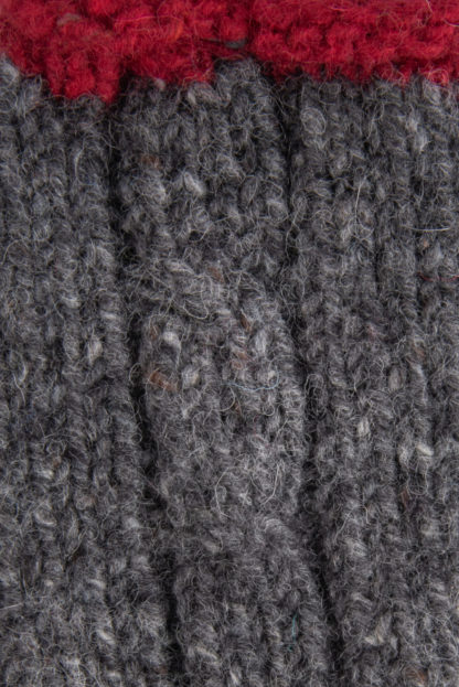 The Donegal Wool Mittens-Charcoal-Grey Detail