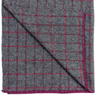 Kilarney Wool Blanket Raspberry Grey Check