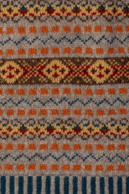 The Prince of Wales Fair Isle V Neck Jumper Detail