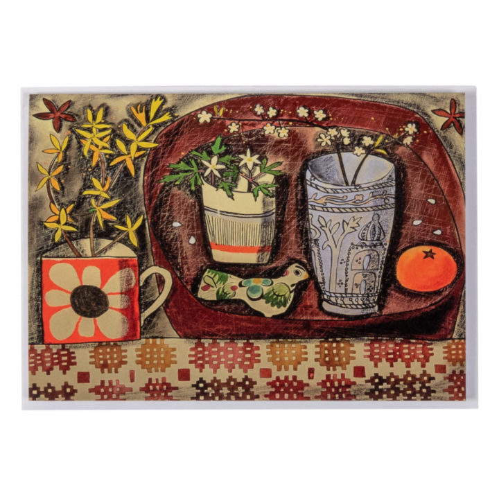 Red Welsh Tapestry Greeting Card