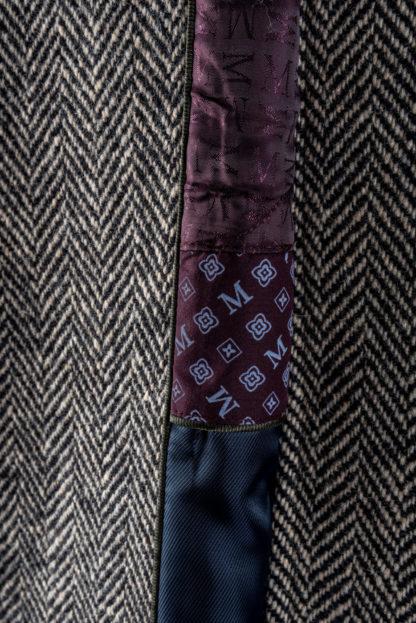 The Corrib - Mens Classic Tweed Overcoat Lining Detail