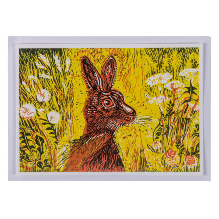 Hare in Yellow Meadow Greeting Card