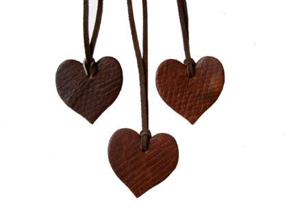 Russian Reindeer Leather Heart Pendants