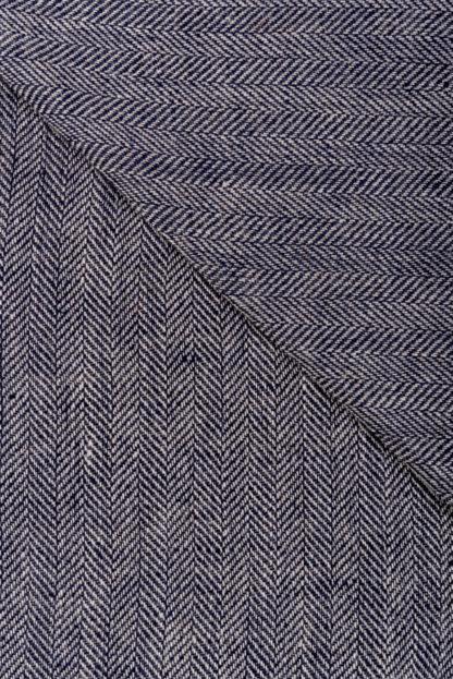 Irish Linen Blue Herringbone Throw-Detail