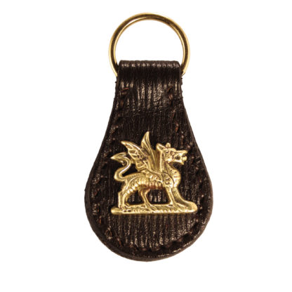 Leather-Welsh Dragon-key-ring