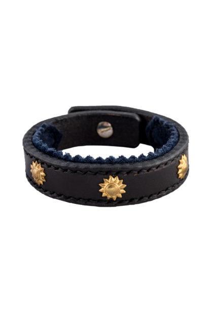 Leather Studded Bracelet with Suede Trim