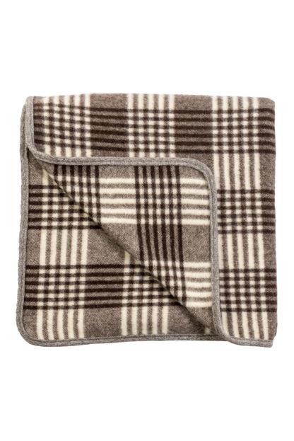 Spanish Wool Blanket Brown Check