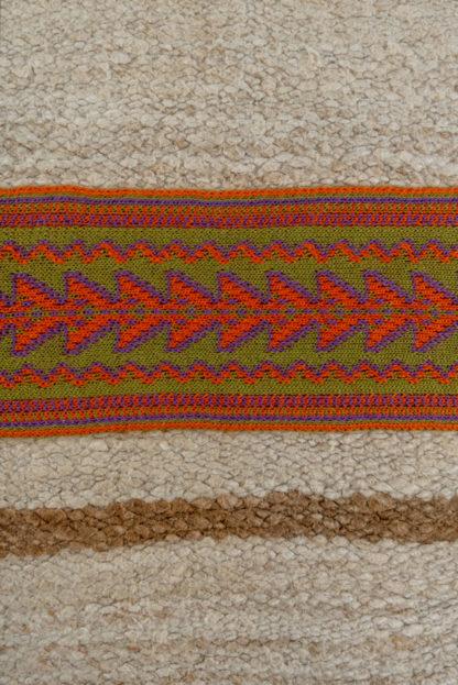 Large Kelim Cushion Orange Embroidered Band Detail