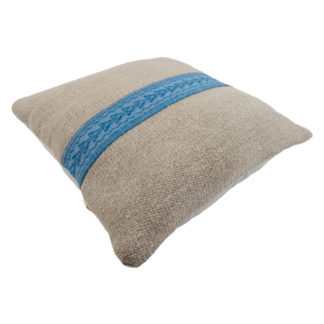 Large Kelim Cushion Blue Embroidered Band