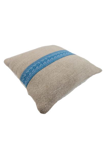 Large Kelim Cushion Blue Embroidered Band