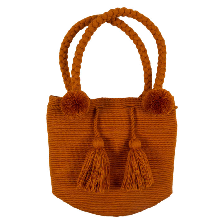 Orange Pom Pom Bag