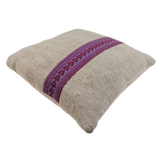 Large Kelim Cushion Purple Embroidered Band