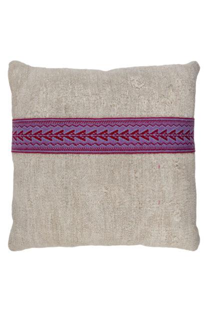 Large Kelim Cushion Purple Embroidered Band 2