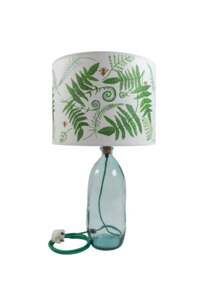 Recycled Clear Glass Lamp Base and Fern Lampshade