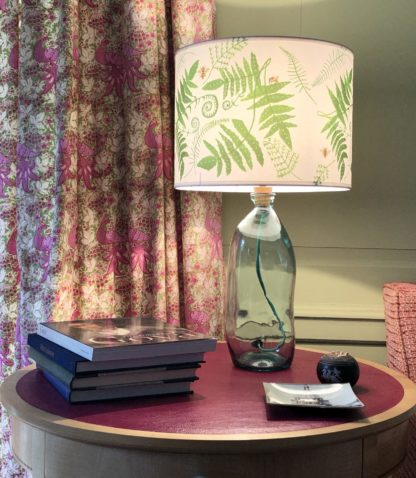 Fern Lampshade Recycled Clear Glass Lampshade against Edward Bulmer Paints Pomona Green
