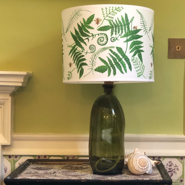 The Fern Lampshade and Dark Green Recycled Glass Lamp Base