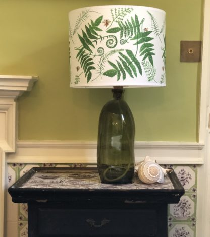 Fern Lampshade Recycled Dark Green Glass Lampshade against Edward Bulmer Paints Olympian Green
