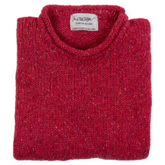 Womens Pink Wool Round Neck Jumper Folded