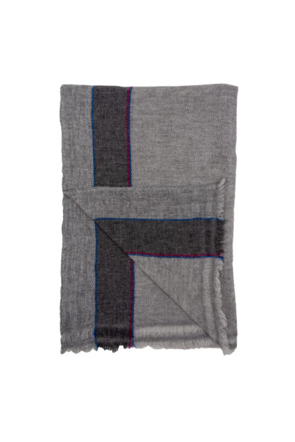 Cashmere Scarf With Pink and Blue Stripe Folded