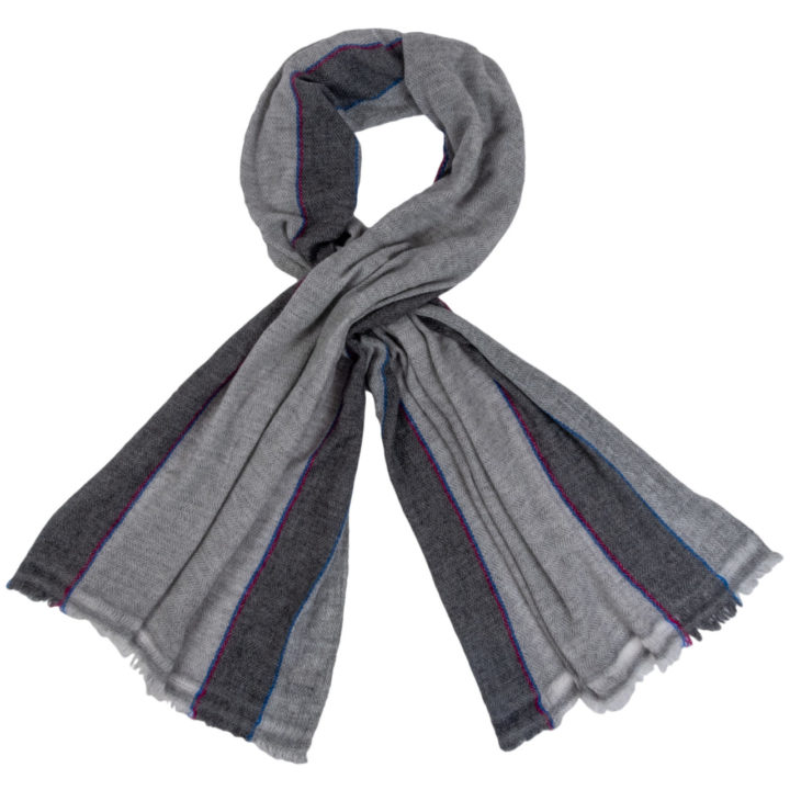 Cashmere Scarf With Pink and Blue Stripe