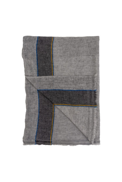 Cashmere Scarf With Blue and Yellow Stripe Folded