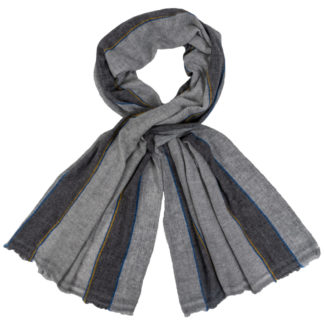 Still Ethical Cashmere Scarf Blue and Yellow Stripe