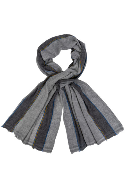 Cashmere Scarf With Blue and Yellow Stripe
