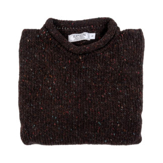 The Turf Brown Donegal Wool Jumper folded