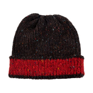 Irish Donegal Wool Beanie Hat - Brown and Red