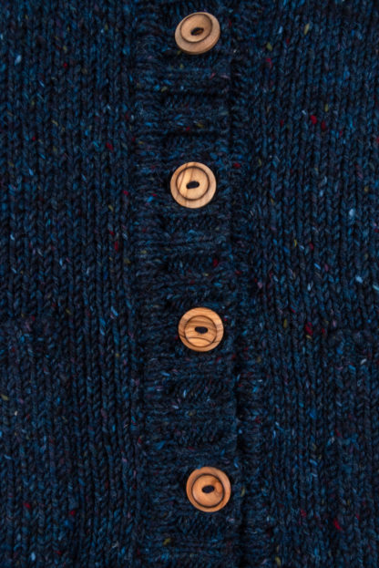 Womens Blue Donegal Wool Waistcoat - Detail of Buttons