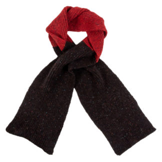 Irish Donegal Wool Scarf - Brown and Red