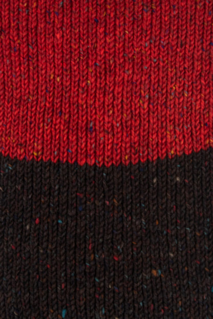 Irish Donegal Wool Scarf - Brown and Red Detail