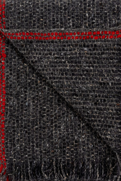 Irish Cashmere Scarf With Red Stripe Detail