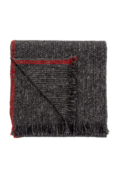 Irish Cashmere Scarf With Red Stripe Folded