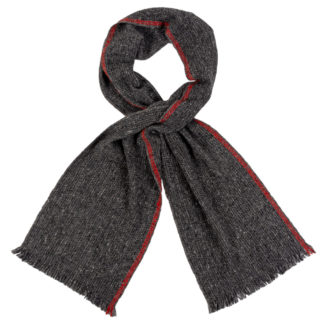 Irish Cashmere Wool Scarf With Red Stripe
