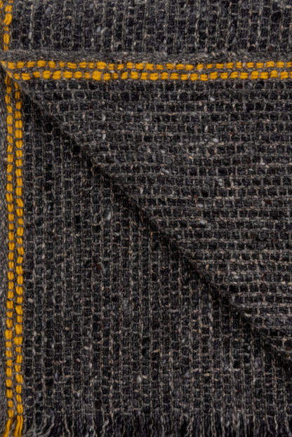 Irish Cashmere Scarf With Yellow Stripe Detail