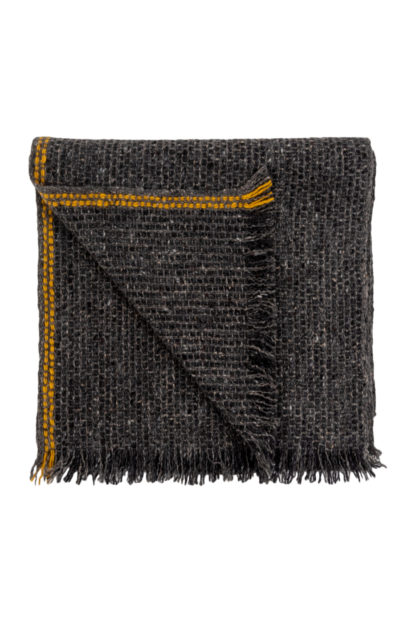 Irish Cashmere Wool Scarf With Yellow Stripe Folded