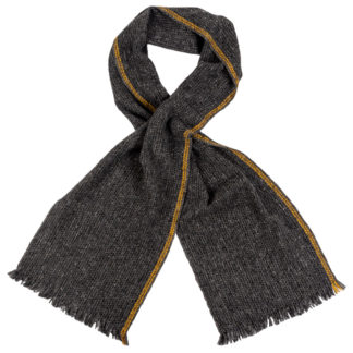 Irish Cashmere Wool Scarf With Yellow Stripe
