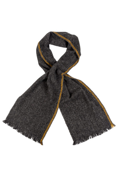 Irish Cashmere Wool Scarf With Yellow Stripe
