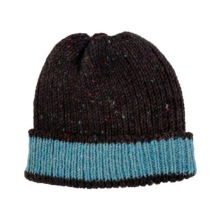 Irish Donegal Wool Beanie Hat - Brown and Blue