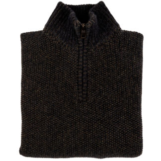 Mens Seed Stitch Zip Neck Jumper